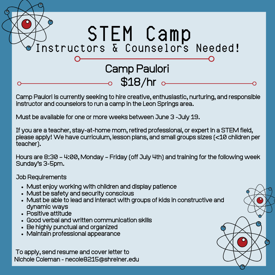 STEM Camp Instructors needed