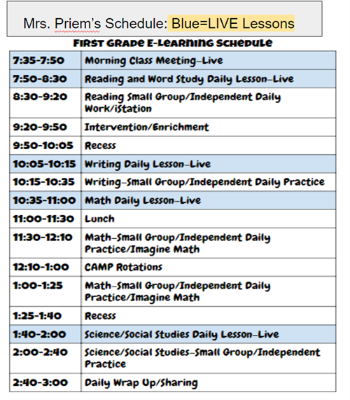 1st E-Learning Schedule