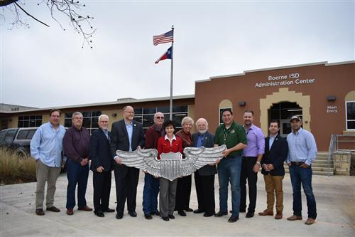 Voss Middle School Wing Sculpture Delivered