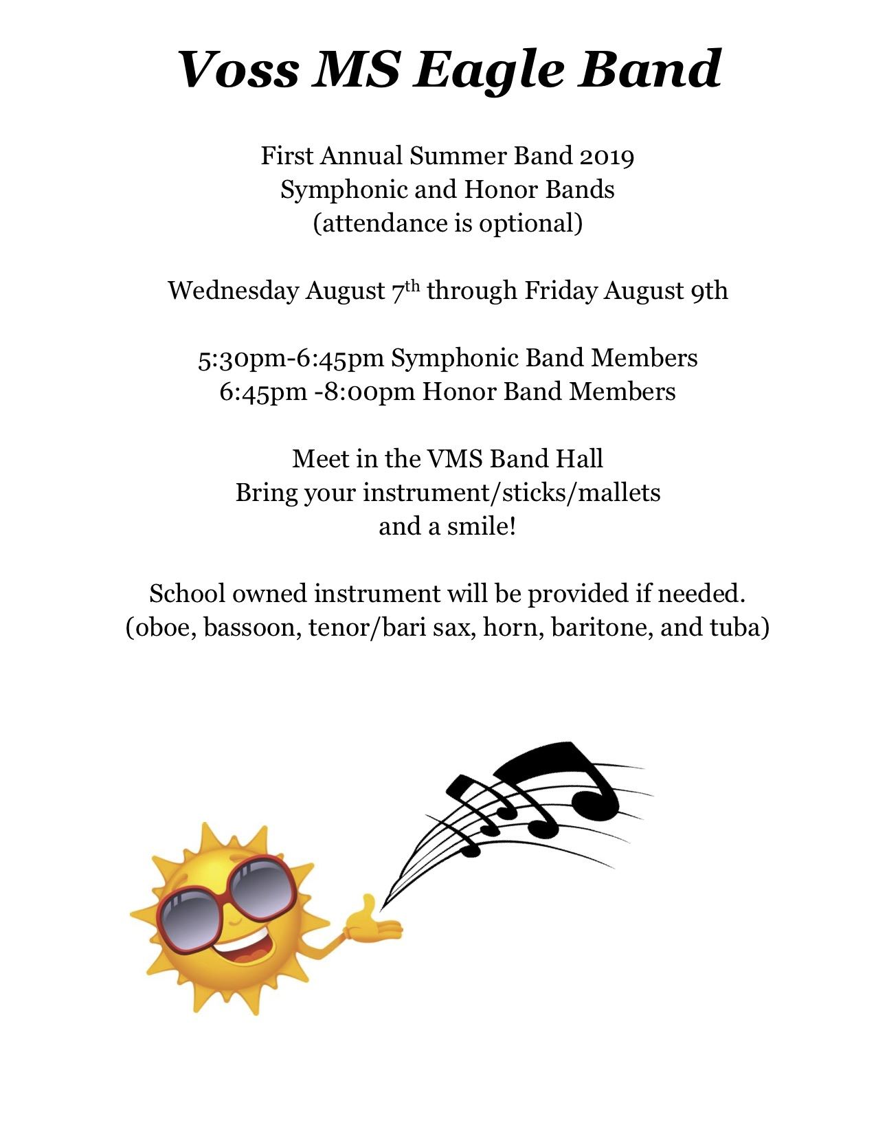 Honors and Symphonic Summer Band
