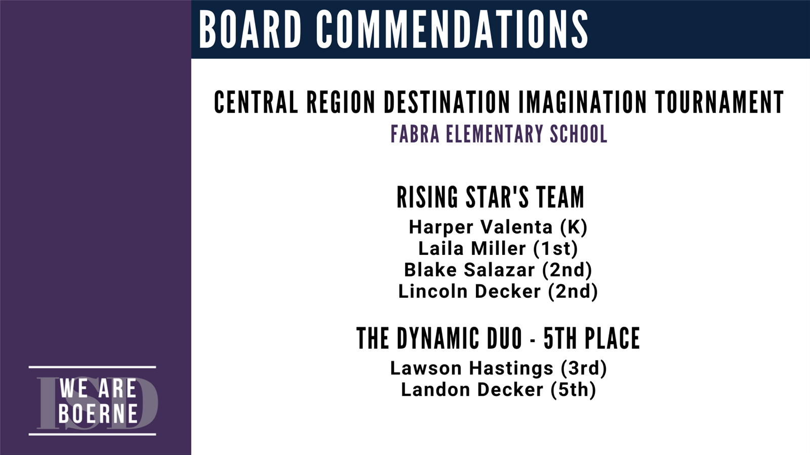 May 2020 Commendations, Slide 5