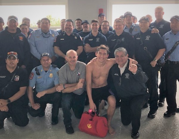 Fire Fighters Cheer-On BHS Swimmer Who Lost Fire Fighter Dad