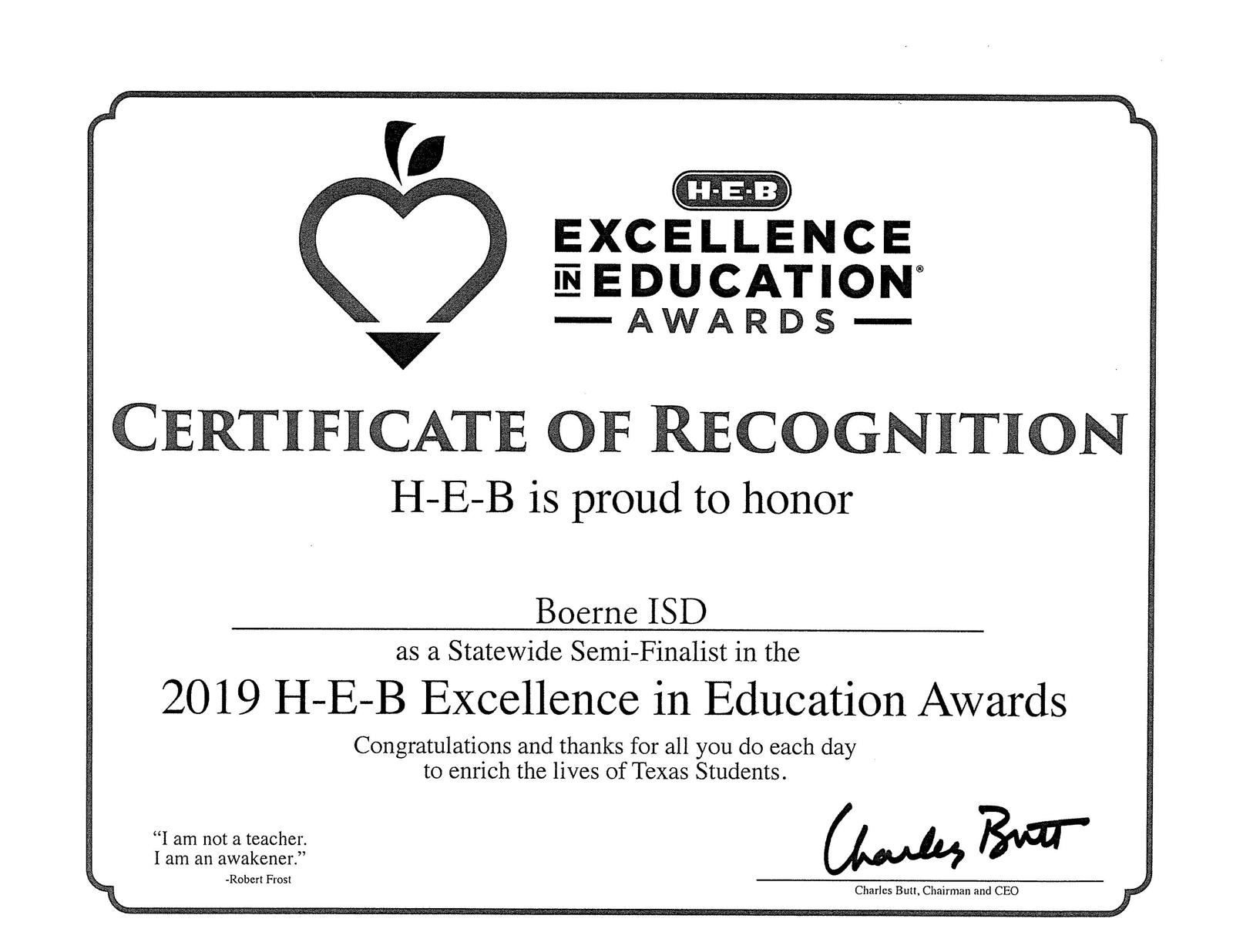 BISD Selected as 2019 HEB Excellence Award Semi-Finalist