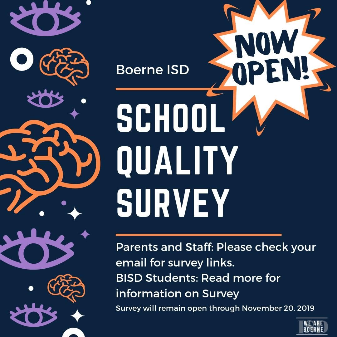 SCHOOL QUALITY SURVEY NOW OPEN!