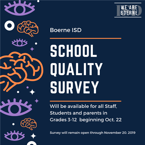 School Quality Survey to Go Live Tuesday, October 22, 2019