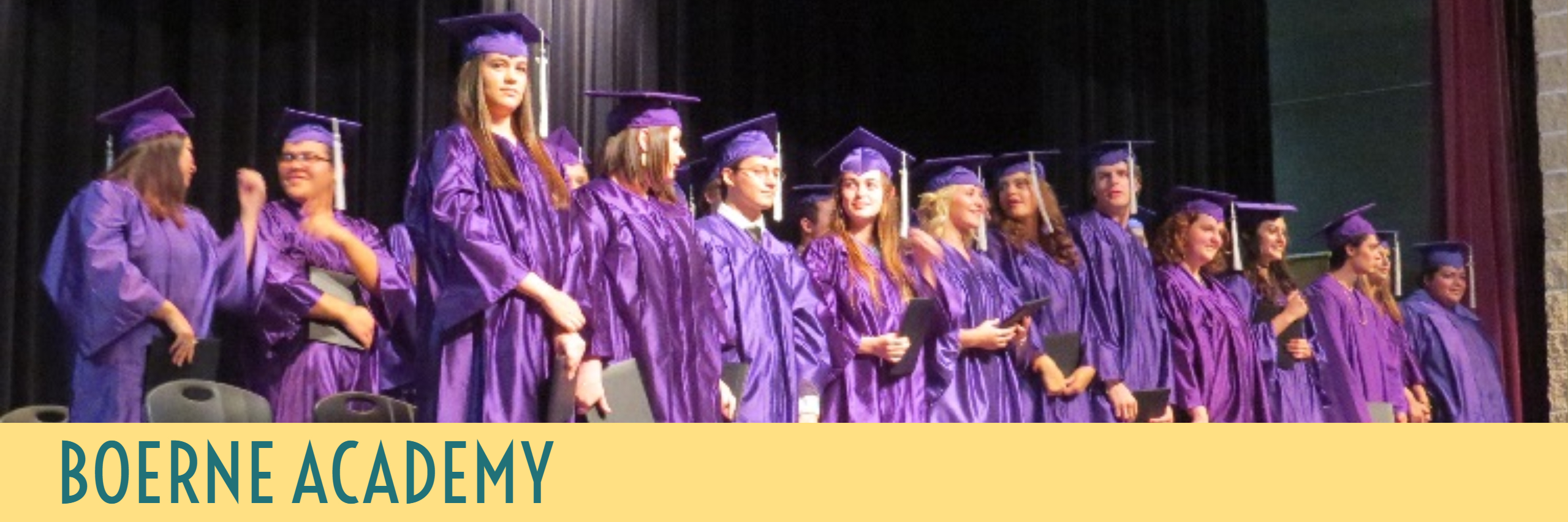 Boerne Academy banner, students graduating